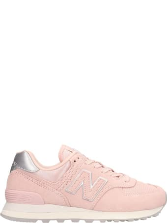 New Balance Pink Suede And Fabric 574 Sneakers