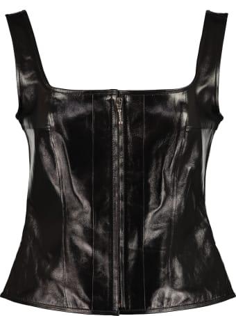 ALEXACHUNG Leather Crop-top