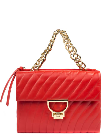 Coccinelle Red Arlettis Quilted Leather Shoulder Bag