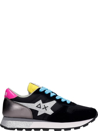 Sun 68 Ally Star Sneakers In Black Synthetic Fibers