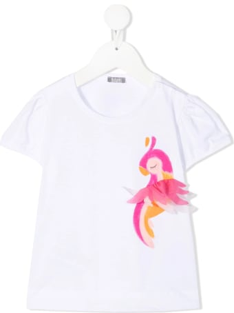 Il Gufo Newborn White T-shirt With Parrot Print