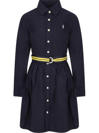 Ralph Lauren Blue Dress For Girl With Pony Logo