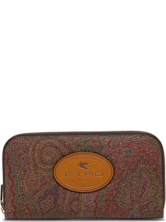 Etro Paisley Leather Wallet With Logo