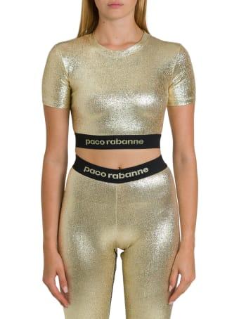 Paco Rabanne Metallic Gold Top With Logo Taping
