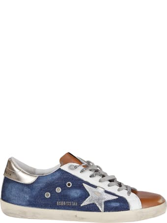 Golden Goose Blue And Orange Leather Super-star Sneakers