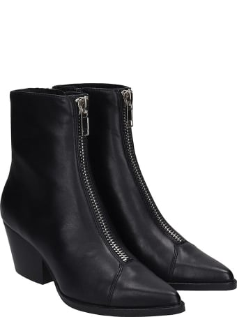 Jeffrey Campbell Landyn Texan Ankle Boots In Black Leather