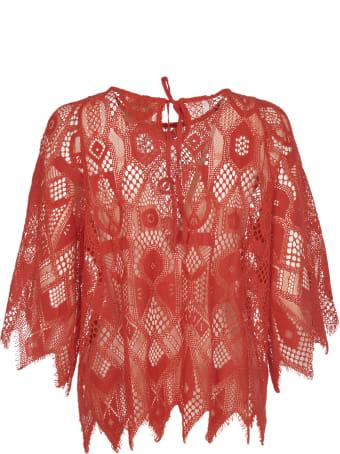 Pink Memories Orange Lace Blouse
