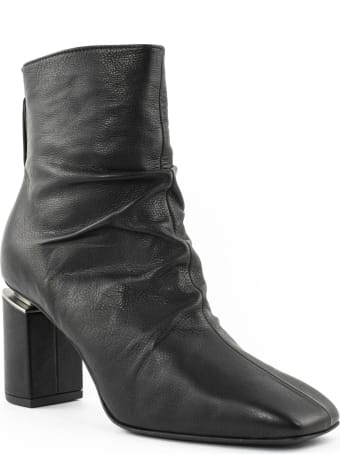 Vic Matié Black Leather Ruched Ankle Boots