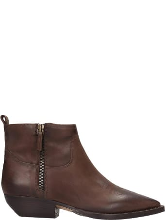 Julie Dee Texan Ankle Boots In Brown Leather