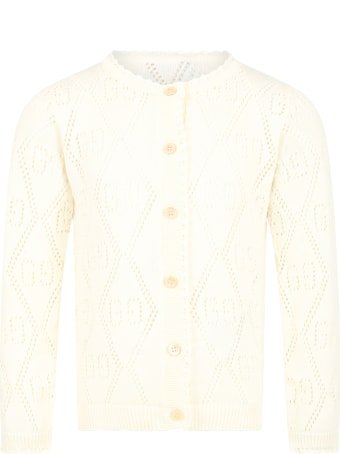 Gucci Ivory Cardigan For Girl With Double Gg