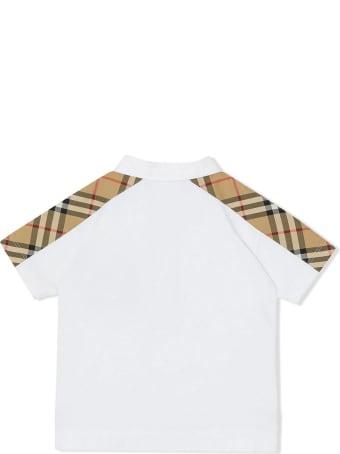 Burberry White Cotton Polo Shirt