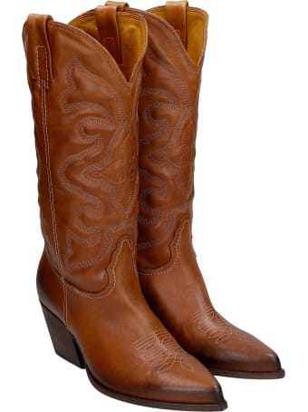 Elena Iachi Texan Boots In Leather Color Leather