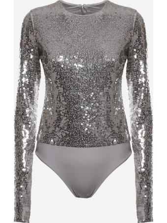 Valentino Cotton Bodysuit With All-over Sequin Embroidery