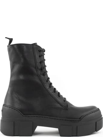 Vic Matié Black Leather Ankle Lace-up Boots