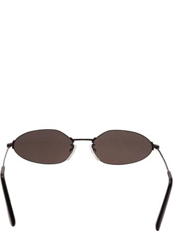 Balenciaga Black Invisible Oval Sunglasses