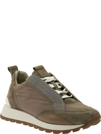 Brunello Cucinelli Taffeta And Suede Runners With Precious Bands