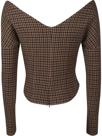 A.W.A.K.E. Mode Open Shoulder Fitted Gingham Top