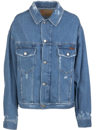 Golden Goose Babette Woman Jacket In Jeans With Contrast Writing On The Back