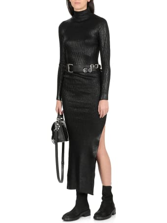 Andrea Ya'aqov Ribbed Dress With Coated Effect
