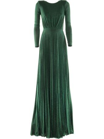 Elisabetta Franchi Celyn B. Pleated Long Dress In Laminated-effect Jersey