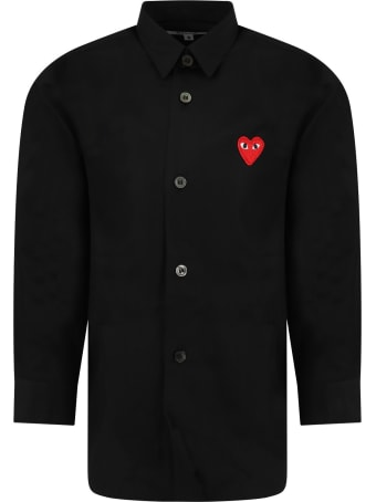 Comme des Garçons Play Black Shirt For Kids With Iconic Heart