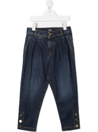 Balmain Kid Dark Blue Straight Jeans With Golden Buttons