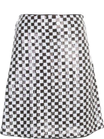 Emporio Armani Bicolour Short A Line Skirt W/paillettes