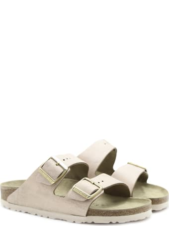 Birkenstock Arizona Sandals In Pink Washed-effect Suede Leather