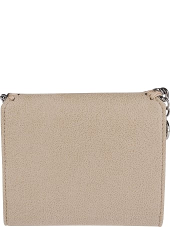 Stella McCartney Beige Faux Leather Falabella Flap Wallet
