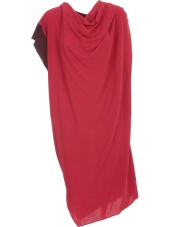 Liviana Conti Asymmetric Dress Bicolor On One Sleeve