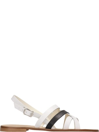 Fabio Rusconi White Black Flats Sandals