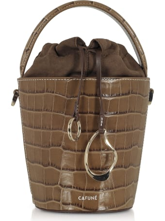 Cafuné Walnut Croco Embossed Leather Mini Bucket Bag