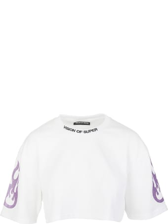 Vision of Super White Cropped Woman T-shirt With Glitter Purple Flame