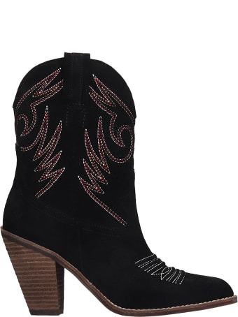 Jeffrey Campbell Audie  Texan Ankle Boots In Black Suede