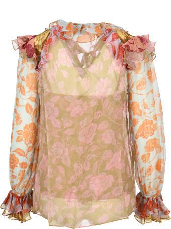 Zimmermann The Lovestruck Ruffle Shirt In Mixed Roses