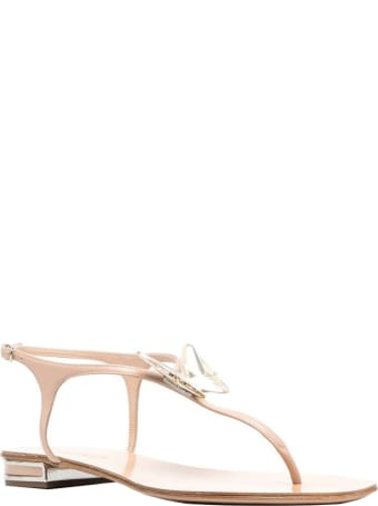 Casadei Nude Leather Flat Sandals