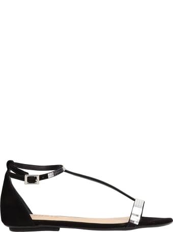 Schutz Suede Black Flat Sandals