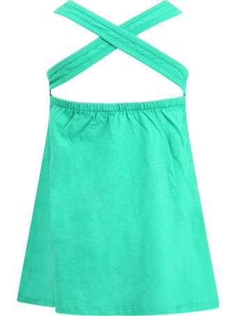Little Marc Jacobs Green Dress For Girl With Logo
