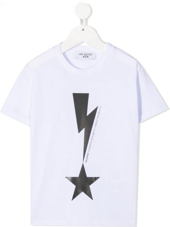 Neil Barrett Kid White T-shirt With Thunderbolt And Stable Print