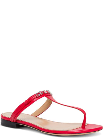 Givenchy Red Leather Sandals With Logo