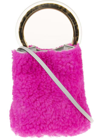 Marni Pink Calf Leather/lamb Fur Textured Tote Bag