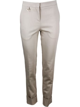 Lorena Antoniazzi Stretch Cotton Trousers With America Pocket, Zip And Turn-up At The Bottom