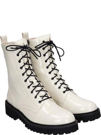 Lola Cruz Combat Boots In White Patent Leather