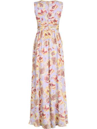 Max Mara Studio Printed Silk Long Dress