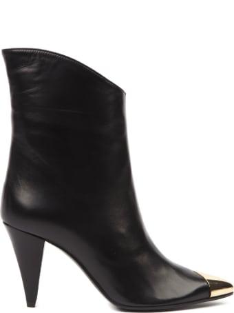 Aldo Castagna Black Leather Boots With Metal Toe