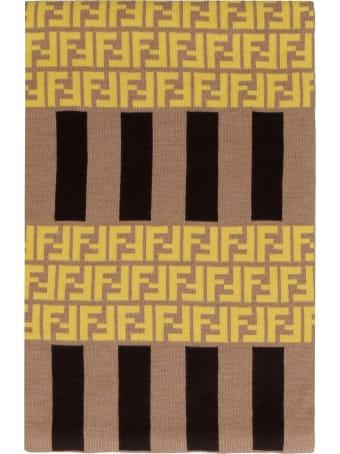 Fendi Wool Scarf With Logo Intarsia