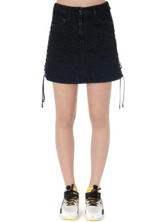 McQ Alexander McQueen Black Fabric Leopard Miniskirt