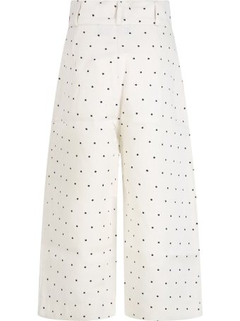 The Animals Observatory Ivory Trousers For Girl With Logo
