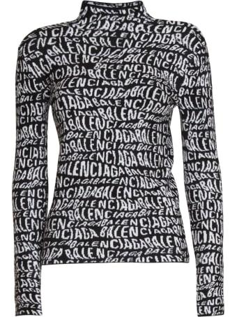 Balenciaga Logo Wave Turtleneck Sweater