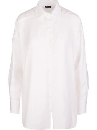 Kiton Bright White Linen High-low Linen Shirt